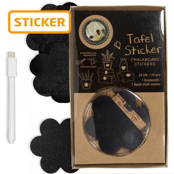 """Tafelsticker """"Blüte"""" Schwarz, Set mit 24 Sticker + Kreidestift"""