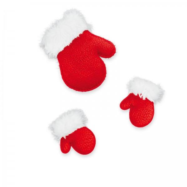 Stoffhandschuhe mit Klebepunkt, Rot 6,5cm + 4cm