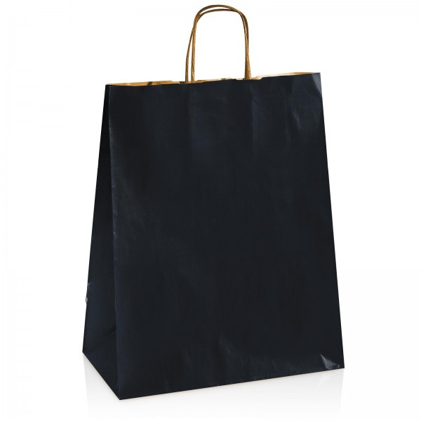 Einkaufstasche aus Kraftpapier Schwarz -groß-