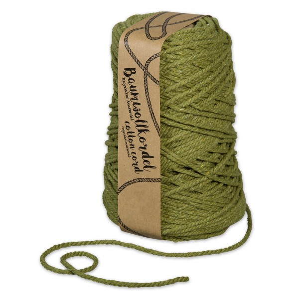 Baumwollkordel Olivgrün, Ø 5mm x 80m