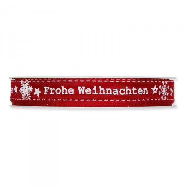 """Geschenkband """"Frohe Weihnachten"""" Bordeaux/Weiß, 15mm x 18m"""