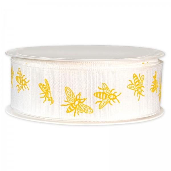 """Geschenkband """"Bienen"""" Weiß/Gelb, 30mm x 20m"""