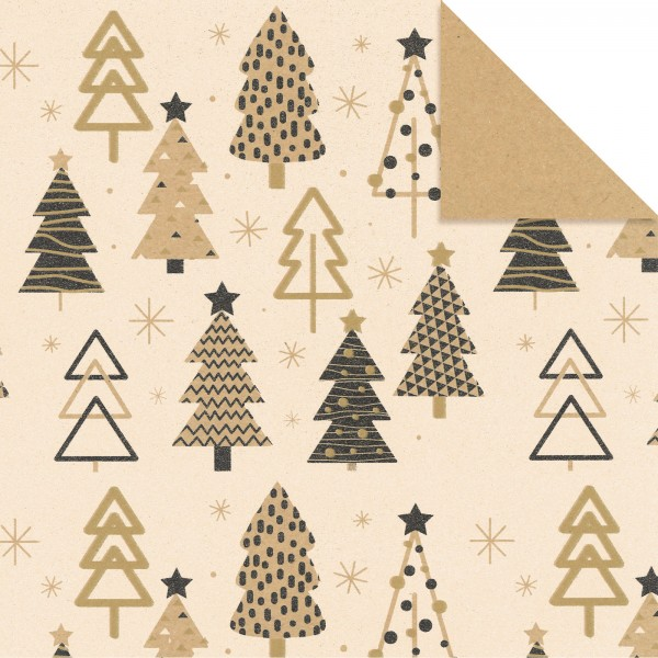 """Geschenkpapier """"Weihnachtsbaum"""" Kraftpapier Creme-Gold"""