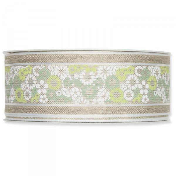 """Geschenkband """"Mosaikblümchen"""" 40mmx15m, Mint/Grün/Weiß mit Drahtkante"""