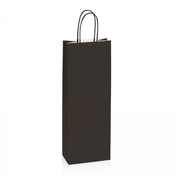 Einkaufstasche aus Kraftpapier Schwarz gerippt -Bottle-
