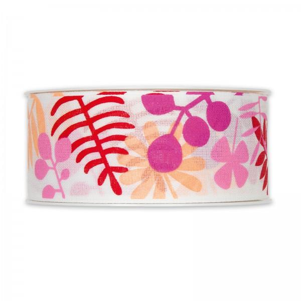 """Geschenband """"Blätter"""" Pink/Bunt, 40mm x 18m"""