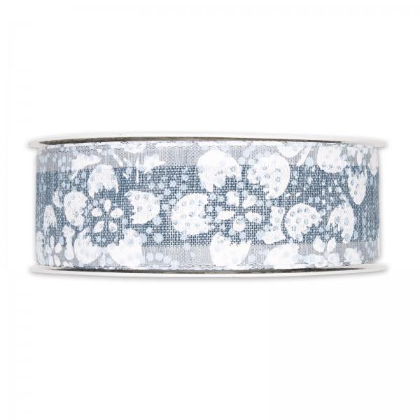 """Geschenkband """"Blütenmuster"""" Blau/Weiß, 40mm x 20m"""
