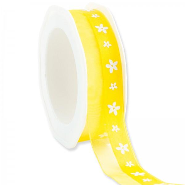 "Geschenkband ""Blüten"" Gelb 25mm x 15m"