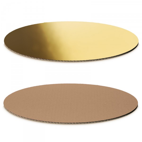 """Dekoplatte Gold-Metallic/Natur"" -M- oval"