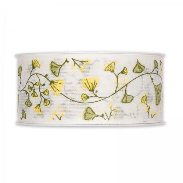 """Geschenkband """"Blumenranke"""", Gelb/Weiß, 40mm x 18m"""