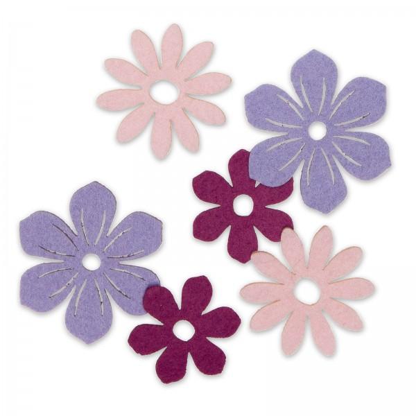 "Filzsortiment ""Blüten"" Lila/Rosa/Beere sortiert, 6 Stück im Set"