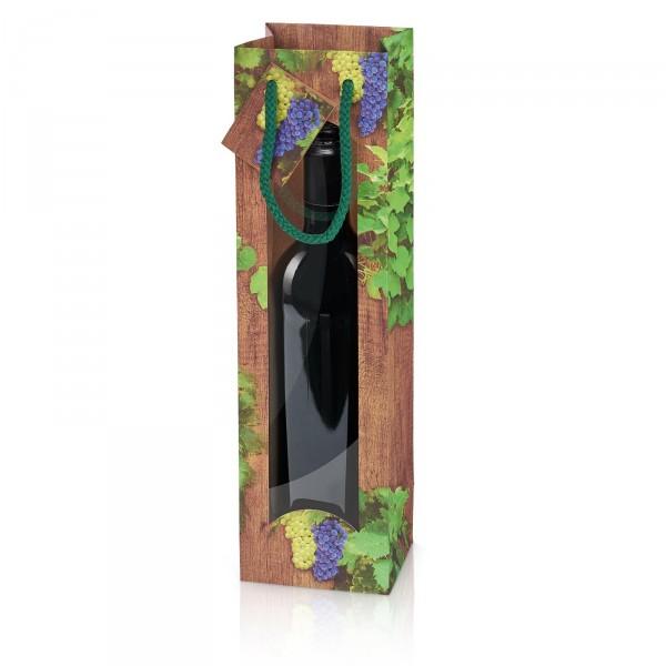 """Papiertragetasche """"Timber Wine"""" mit Fenster 1er"""