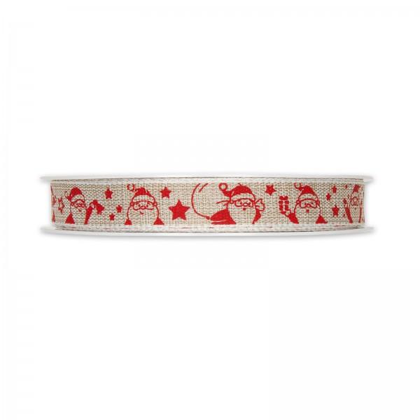 """Geschenkband """"Santa"""" Rot/Natur, 15mm x 20m"""