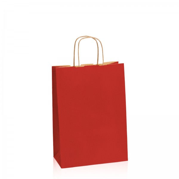 Einkaufstasche aus Kraftpapier Dunkelrot gerippt -M-