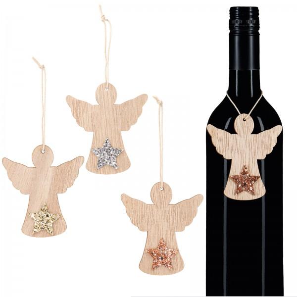 Holzanhänger Engel mit Stern, sortiert