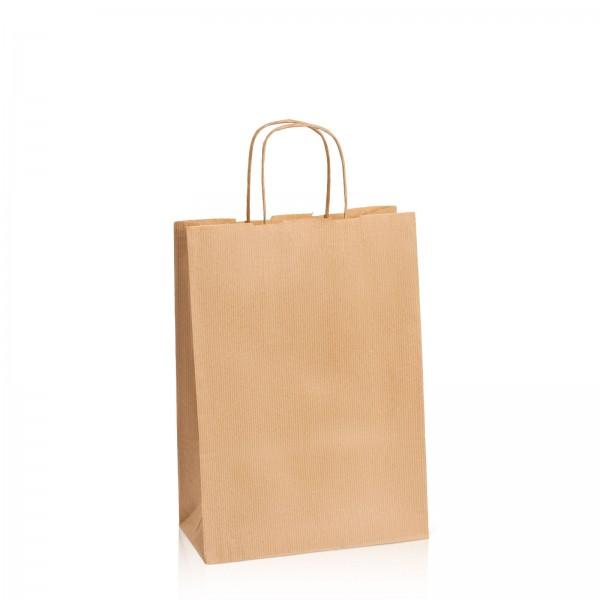 Einkaufstasche aus Kraftpapier Natur gerippt -M-
