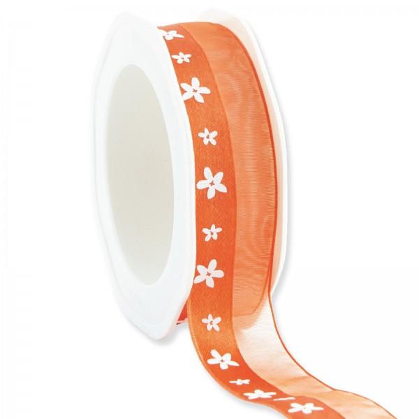 """Geschenkband """"Blüten"""" Orange 25mm x 15m"""