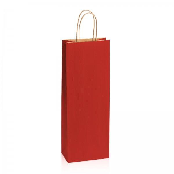 Einkaufstasche aus Kraftpapier Dunkelrot gerippt -Bottle-