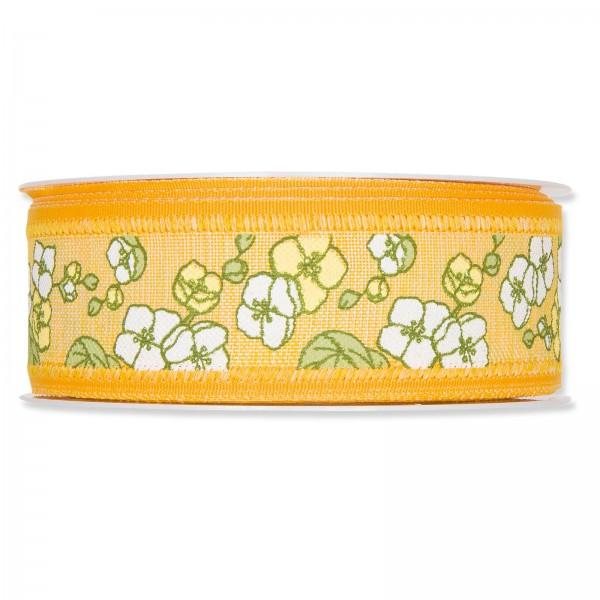 """Geschenkband """"Blumenranken"""" Gelb, 40mm x 18m"""