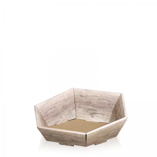 "Präsentkorb 6-eckig ""Wood"" -klein-"