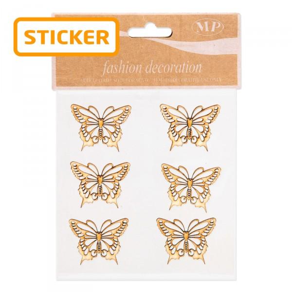 """Holzsticker """"Schmetterling"""", 4 x 3,2cm, 6 Stück pro Karte"""