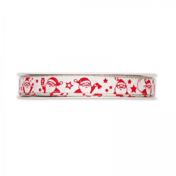 """Geschenkband """"Santa"""" Rot/Weiß, 15mm x 20m"""