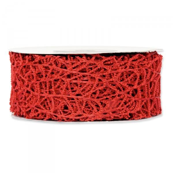 """Geschenkband """"Gitter"""" Rot, 40mm x 10m"""