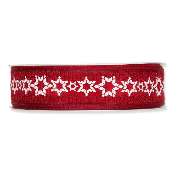 "Geschenkband ""Winter"" Rot/Weiß, 25mm x 15m"