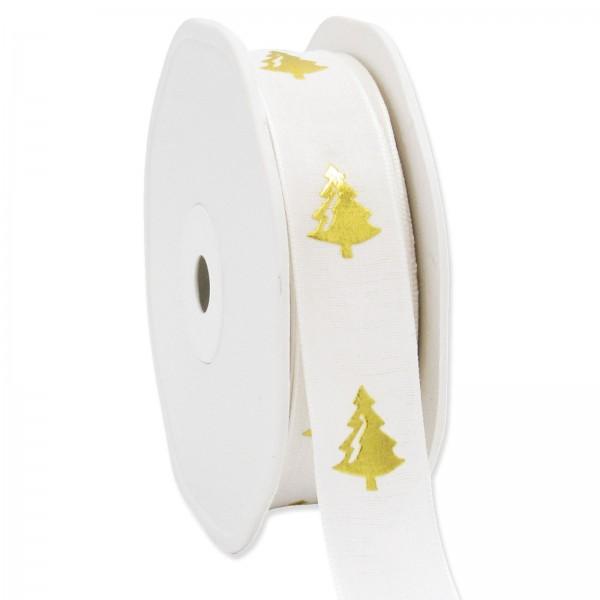 """Geschenkband """"Baum"""" Creme/Gold, 22mm x 15m"""