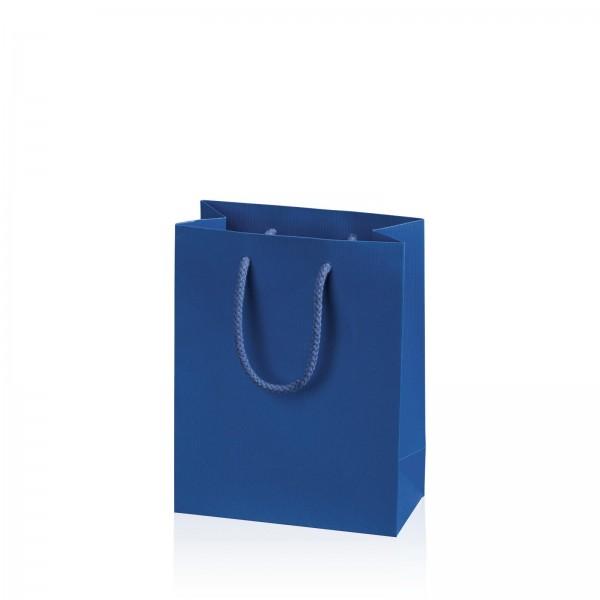 """Papiertragetasche """"Linea"""" Blau mit Streifenprägung BB"""