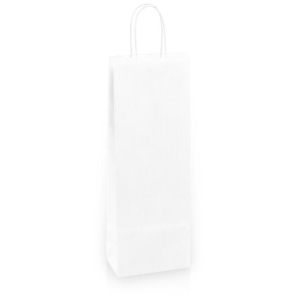 Einkaufstasche aus Kraftpapier Weiß gerippt -Bottle-