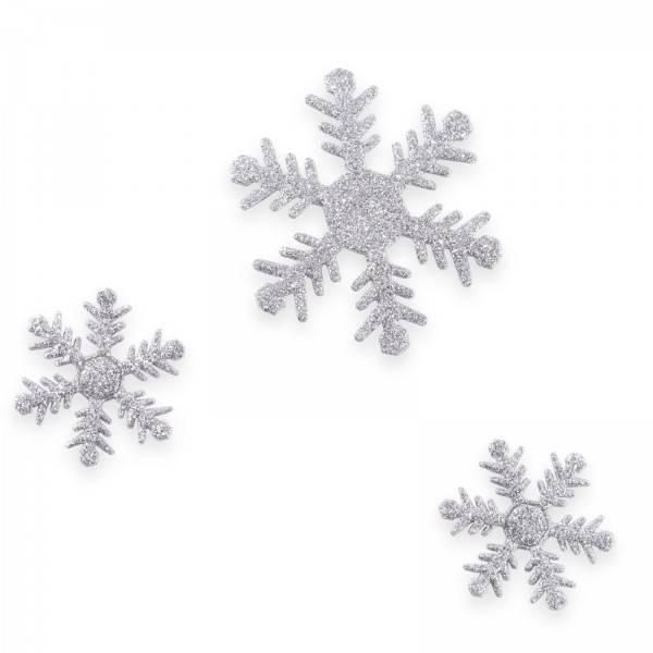 Schneeflocke mit Klebepunkt, Silberglimmer, sortiert, Ø4+6cm