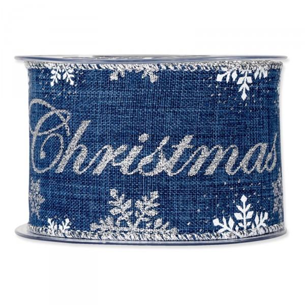 """Geschenkband """"Christmas"""" Blau/Silber, 63mm x 10m"""