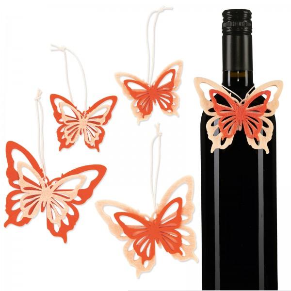 "Filzanhänger ""Butterfly"" Orange/Creme, sortiert"