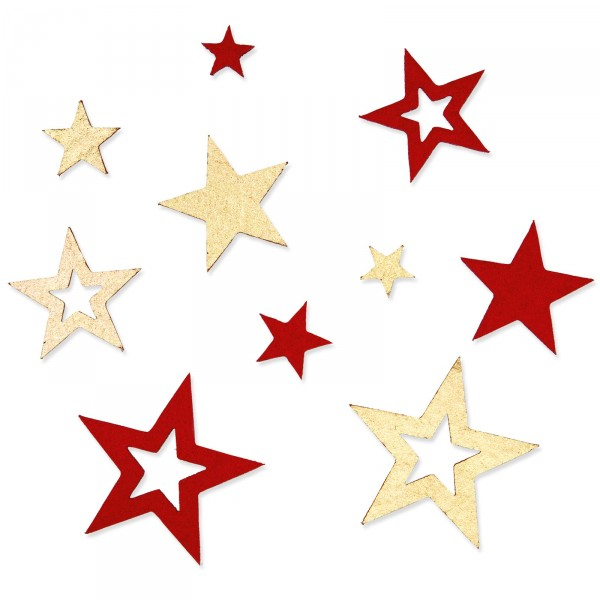 "Filzsortiment ""Sterne"" Rot/Gold -sortiert- 60 Stück pro Beutel"