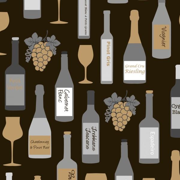 """Geschenkpapier """"Vino"""" Schwarz-Gold-Silber"""