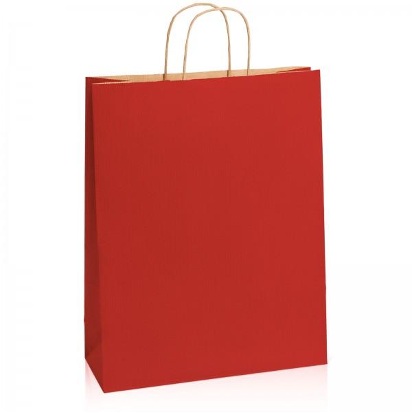 Einkaufstasche aus Kraftpapier Dunkelrot gerippt -XL-