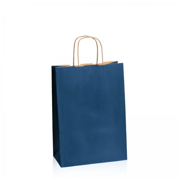 Einkaufstasche aus Kraftpapier Dunkelblau gerippt -M-