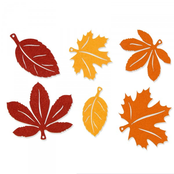 Filzsortiment herbstbl tter gelb orange braun 6 st ck for Herbst dekoartikel