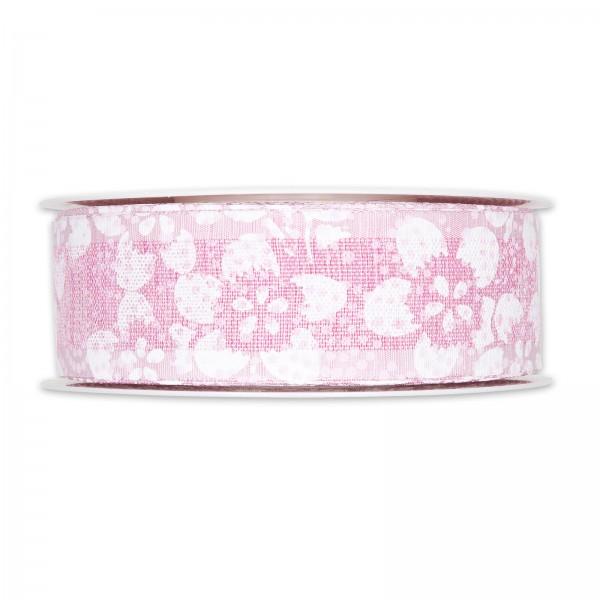 """Geschenkband """"Blütenmuster"""" Pink/Weiß, 40mm x 20m"""