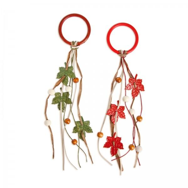 Anhänger Blätterring Rot/Grün