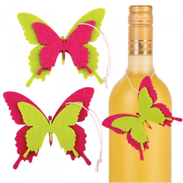 """Anhänger """"Papillon"""" Schmetterling 2-fach sort. Pink/Grün"""
