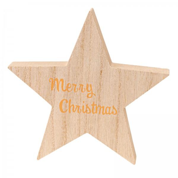 "Holzaufsteller ""Stern Merry Christmas"" Natur"