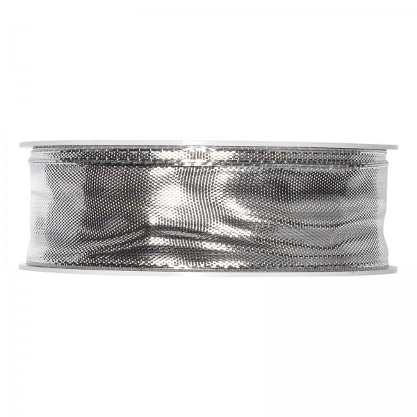 "Geschenkband ""Uni"" Silber-Metallic 25mm x 25m"