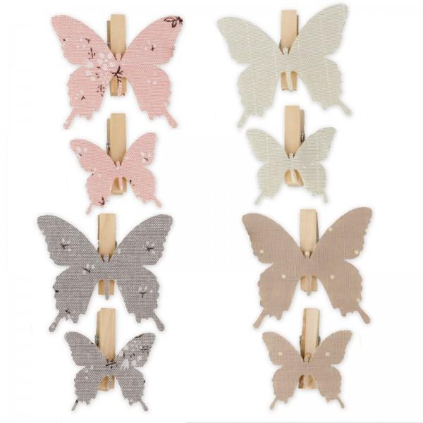 Holzklammer mit Schmetterling aus Stoff, Rosa/Mint/Braun/Blau sortiert, 4,5x4 + 5x5cm