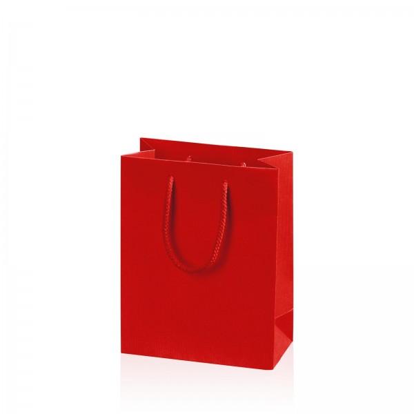 """Papiertragetasche """"Linea"""" Rot mit Streifenprägung BB"""