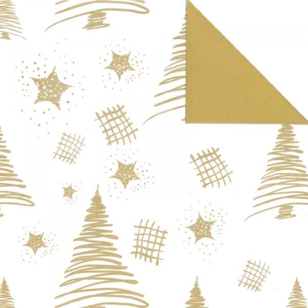 """Geschenkpapier """"Tannenbaum"""" Weiß-Gold, zweiseitig"""