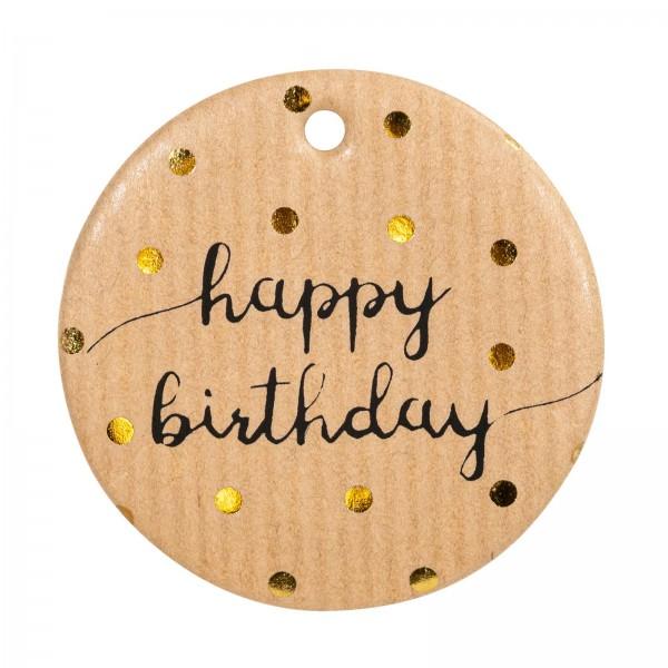 "Papier-Anhänger ""Happy Birthday"" Natur, Ø 5cm"