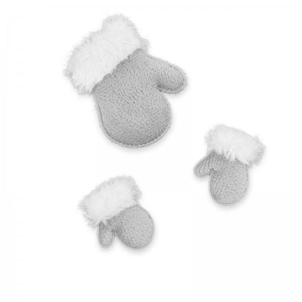 Stoffhandschuhe mit Klebepunkt, Grau 6,5cm + 4cm