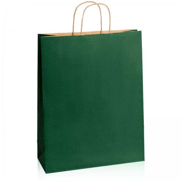 Einkaufstasche aus Kraftpapier Dunkelgrün gerippt -XL-